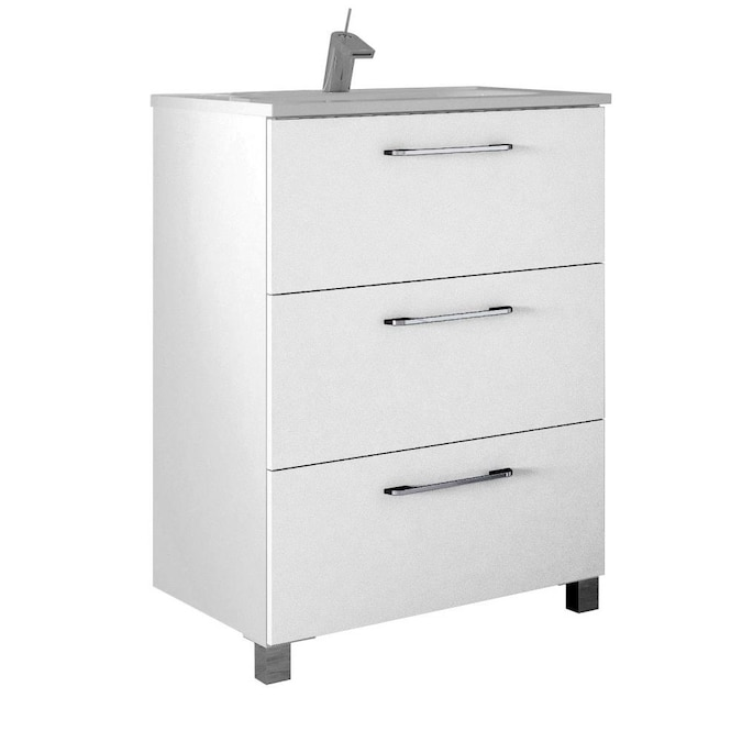 Randalco Nexo 24 In White Single Sink Bathroom Vanity With Glossy White Ceramic Top In The Bathroom Vanities With Tops Department At Lowes Com