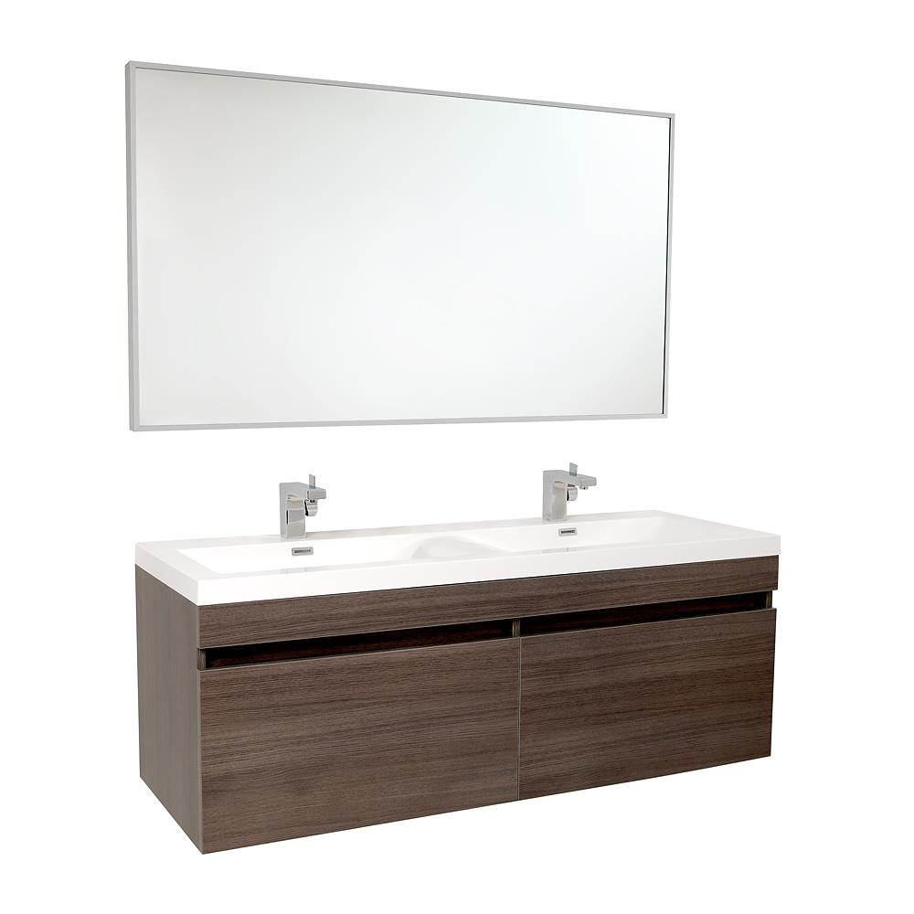 Gray Double Sink Bathroom Vanity, 4 Ft Bathroom Vanity