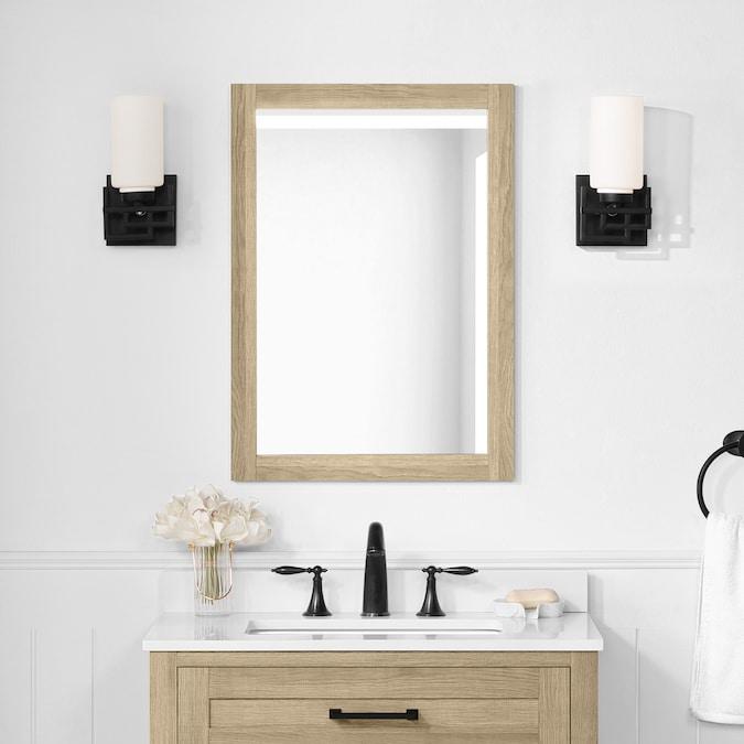Natural Oak Rectangular Bathroom Mirror, Oak Framed Mirrors Bathroom