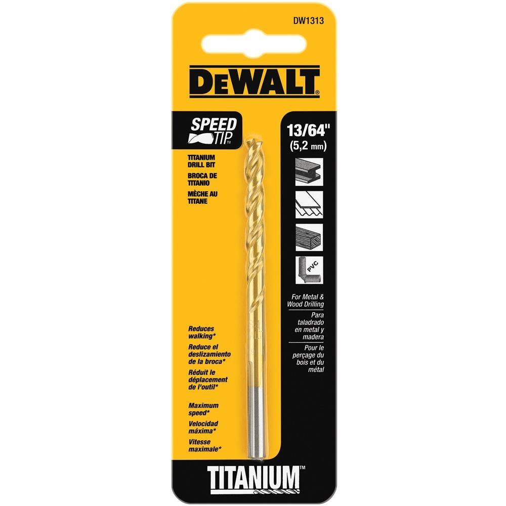 DEWALT 13/64-in x 5-7/8-in Titanium Twist Drill Bit Stainless Steel | DW1313 G