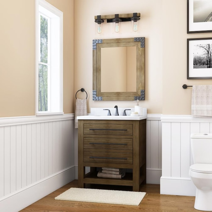 Allen Roth Kennilton 30 In Gray Oak Undermount Single Sink Bathroom Vanity With White Carrera Engineered Stone Top In The Bathroom Vanities With Tops Department At Lowes Com
