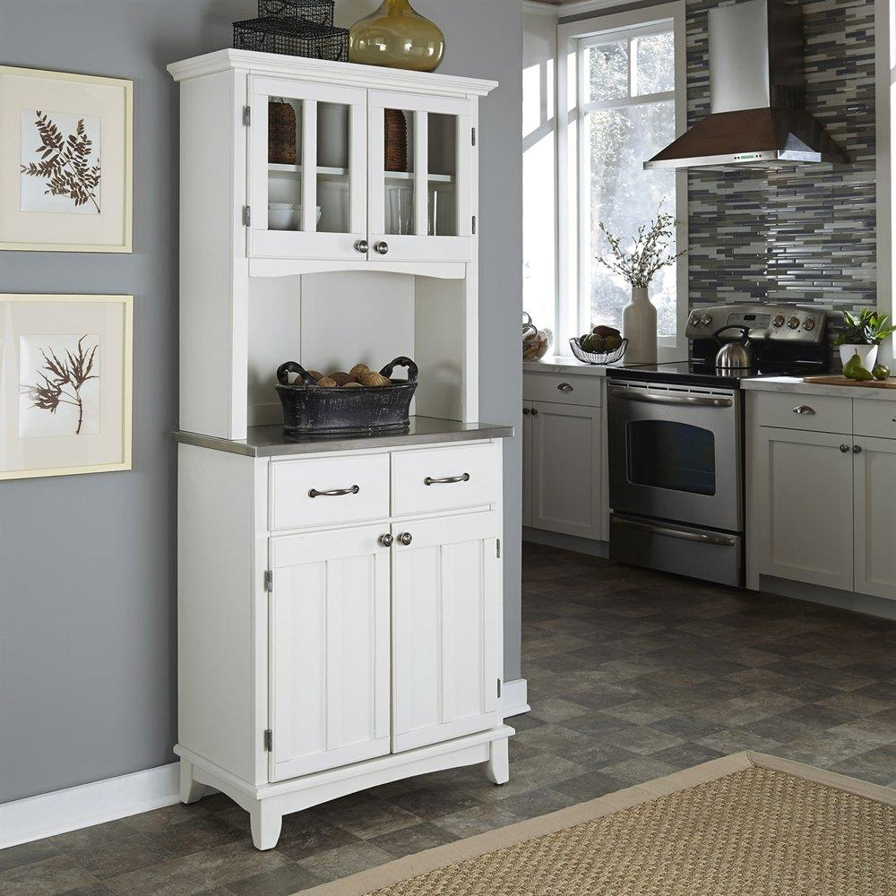 Home Styles White Stainless Steel Kitchen Hutch In The Dining Kitchen Storage Department At Lowes Com