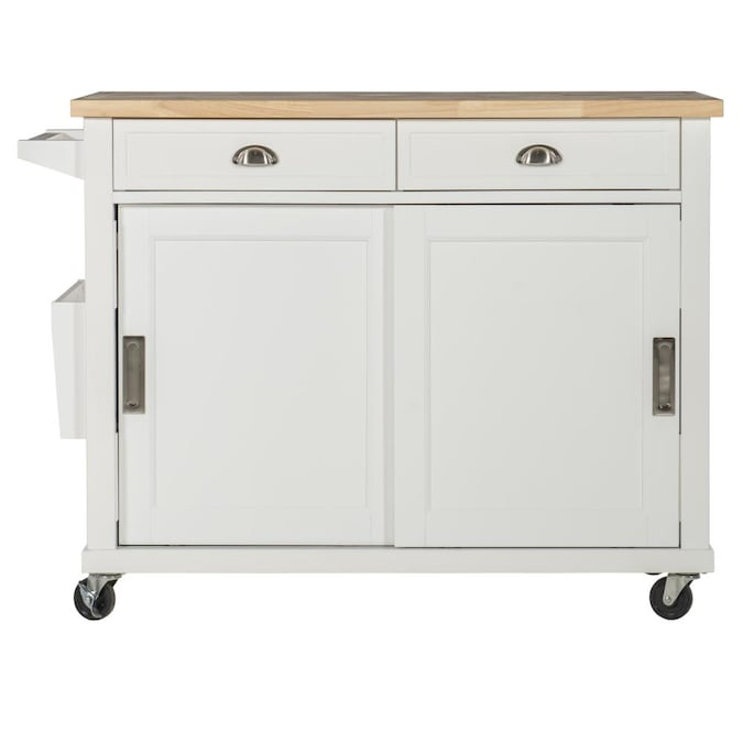 Linon White Wood Base with MDF Wood Top Kitchen Cart (44-in x 20-in x 36-in)