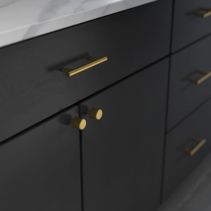Brainerd Bar 1 In Brushed Brass Bar Cabinet Knob In The Cabinet Knobs Department At Lowes Com
