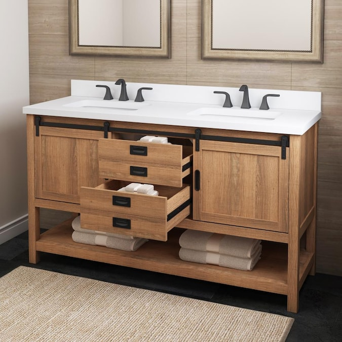 Style Selections 60 In Brown Undermount Double Sink Bathroom Vanity With White Engineered Stone Top In The Bathroom Vanities With Tops Department At Lowes Com
