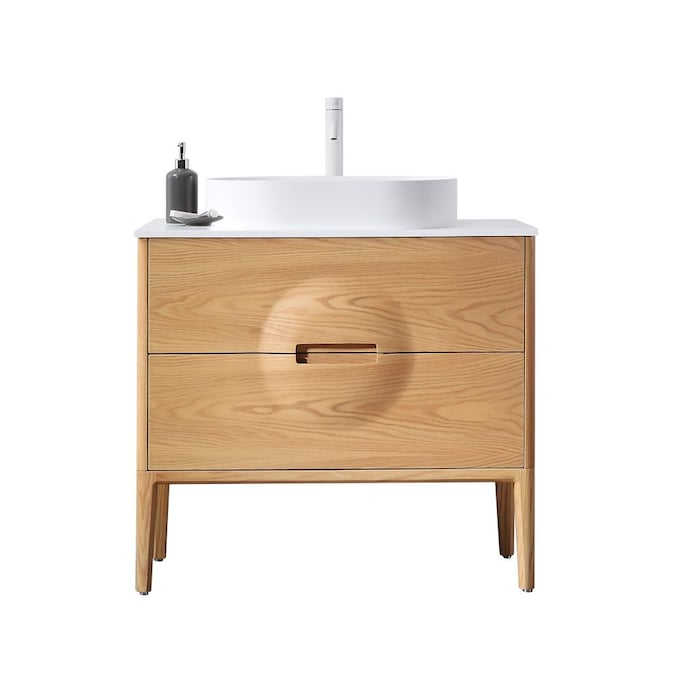 Cartisan Design Brucia 36 In Whitewash Oak Single Sink Bathroom Vanity With Matte White Solid Surface Top In The Bathroom Vanities With Tops Department At Lowes Com