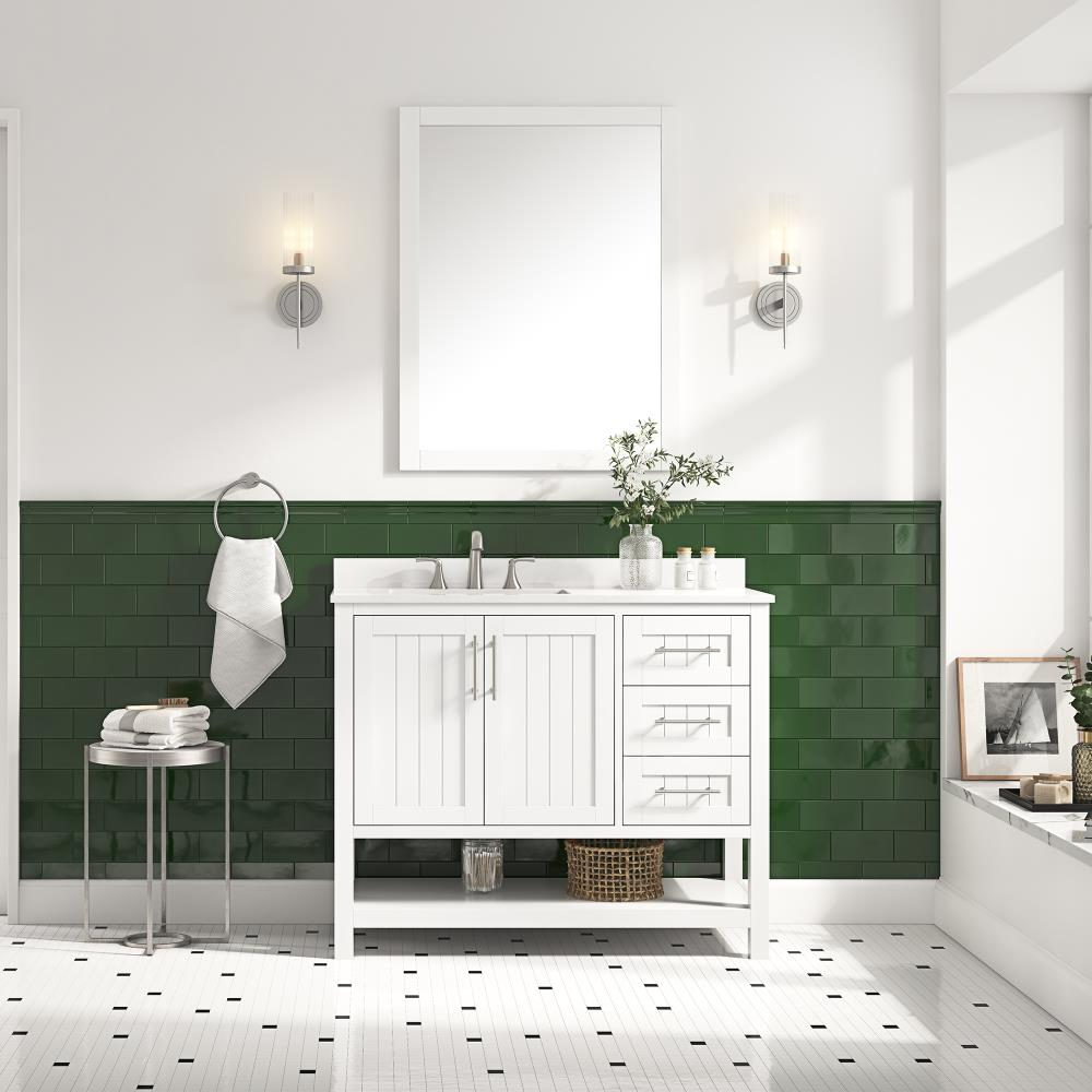 Style Selections Mercer 42 In White Undermount Single Sink Bathroom Vanity With White Engineered Stone Top Mirror Included In The Bathroom Vanities With Tops Department At Lowes Com