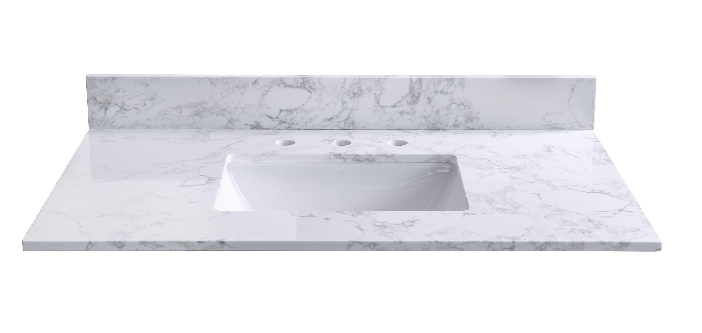 CASAINC 20 in Carrara White Ceramic Single Sink Bathroom Vanity Top