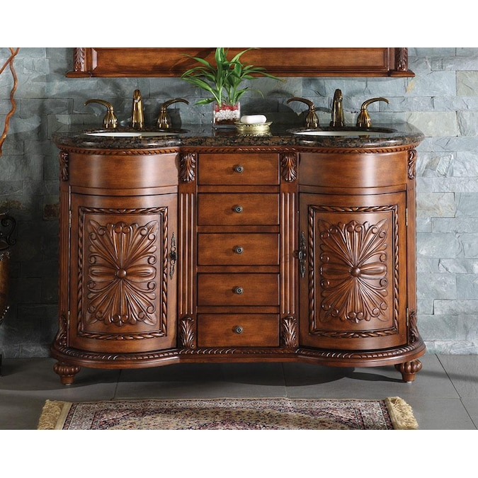 Silkroad Exclusive 54 In English Chestnut Undermount Double Sink Bathroom Vanity With Baltic Brown Granite Top In The Bathroom Vanities With Tops Department At Lowes Com