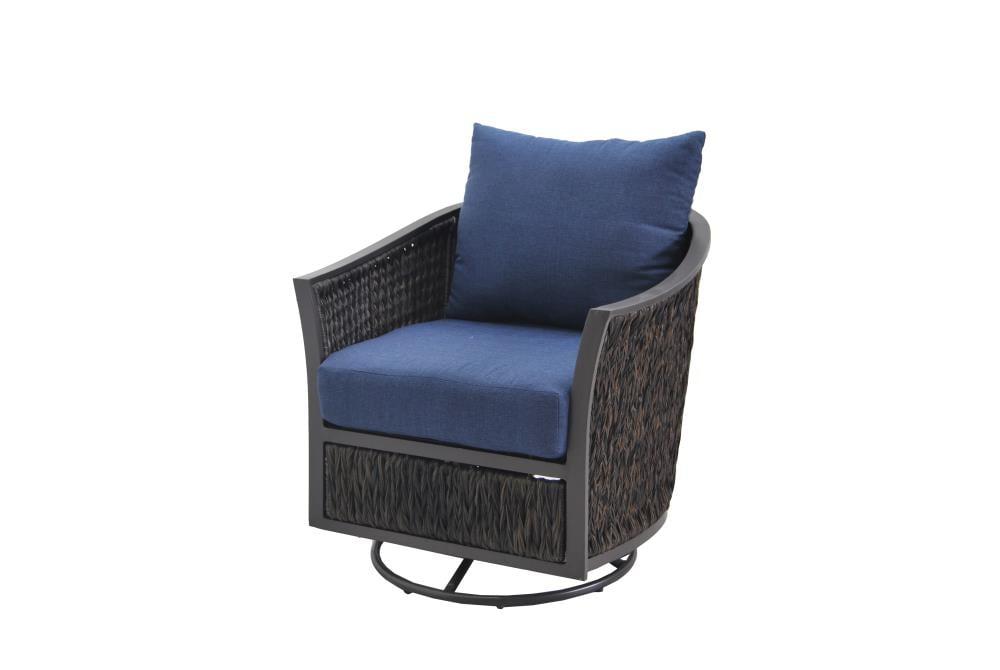 Allen Roth Ellisview Set Of 2 Woven, Swivel Glider Outdoor Chair Set