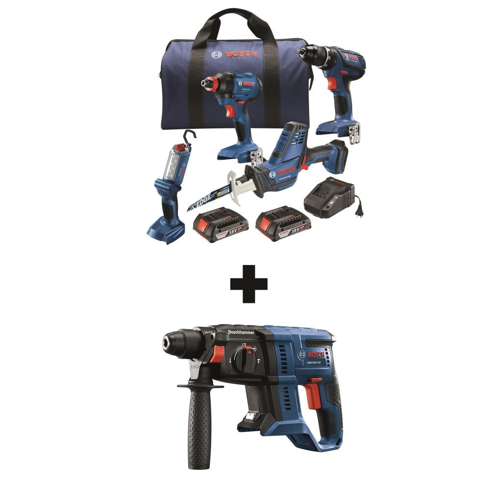 Bosch 5-Tool 18-Volt Power Tool Combo Kit with Soft Case (Charger Included and 2-Batteries Included) | GXL18V-496B22+GBH