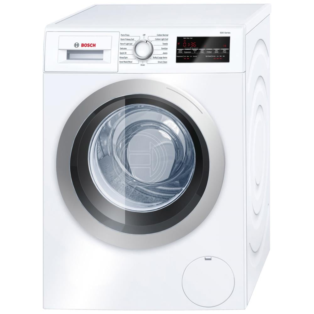 Bosch 500 2-cu ft High Efficiency Stackable Front-Load Washer (White/Silver Trim) ENERGY STAR Stainless Steel | WAT28401UC