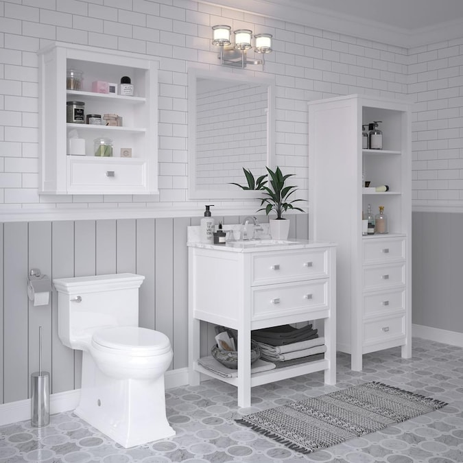 Allen Roth Canterbury 30 In White Undermount Single Sink Bathroom Vanity With Carrara Engineered Marble Top In The Bathroom Vanities With Tops Department At Lowes Com
