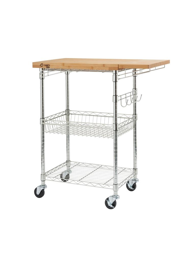 Trinity Chrome Steel Base With Bamboo Wood Top Kitchen Cart 19 In X 39 In X 36 5 In In The Kitchen Islands Carts Department At Lowes Com