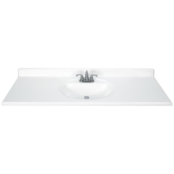61 In White Cultured Marble Single Sink, Bathroom Vanities With Tops Single Sink