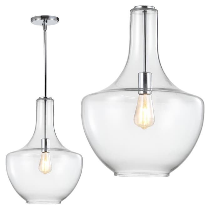 Jonathan Y Chrome Clear Traditional Clear Glass Bowl Led Kitchen Island Light In The Pendant Lighting Department At Lowes Com