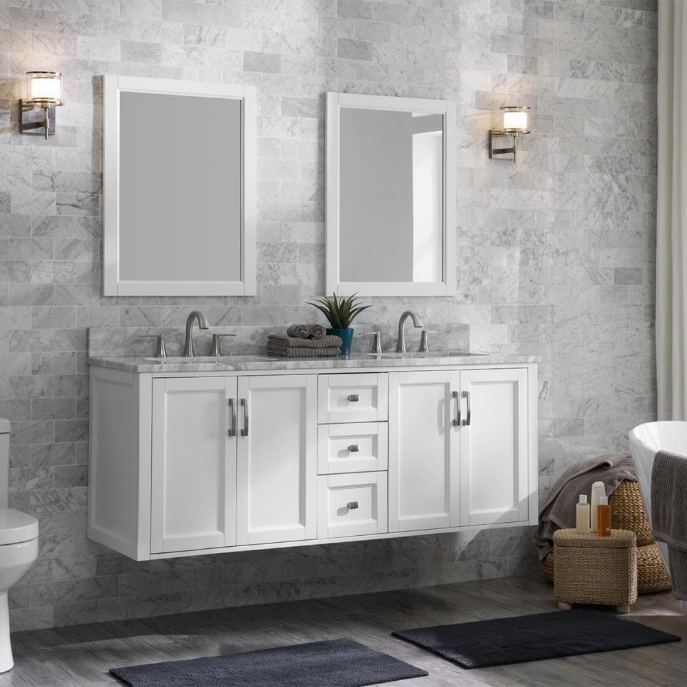 Allen Roth Floating 60 In White Undermount Double Sink Bathroom Vanity With Natural Carrara Marble Top In The Bathroom Vanities With Tops Department At Lowes Com