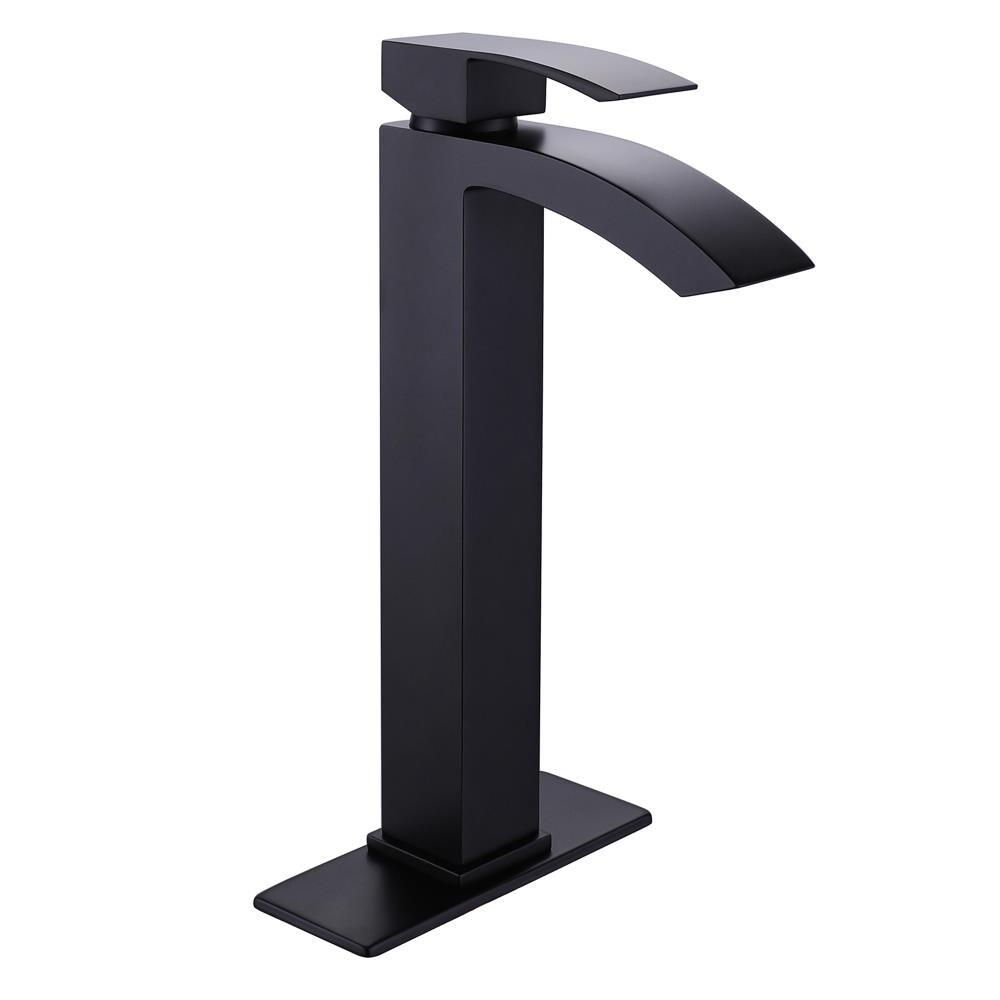 Wellfor Deck Mount Bath Faucet Matte Black 1 Handle Vessel Bathroom Sink Faucet In The Bathroom Sink Faucets Department At Lowes Com