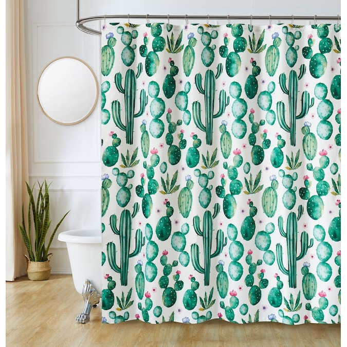 Olivia Gray 72 In Polyester Cactus, What Color Goes With Gray Shower Curtain