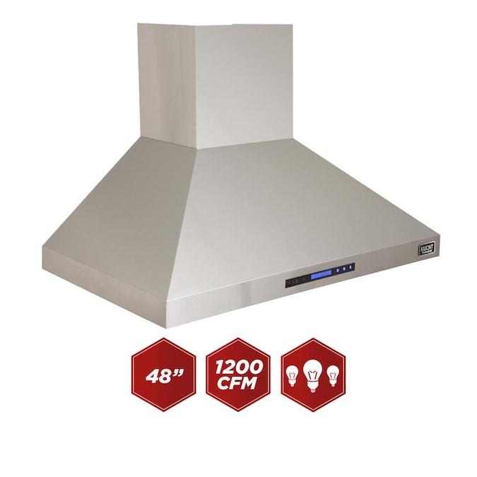 Kucht 48 In Ducted Stainless Steel Wall Mounted Range Hood In The Wall Mounted Range Hoods Department At Lowes Com
