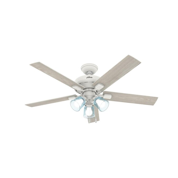 Hunter Whittier 52 In Matte White Led Ceiling Fan 5 Blade In The Ceiling Fans Department At Lowes Com