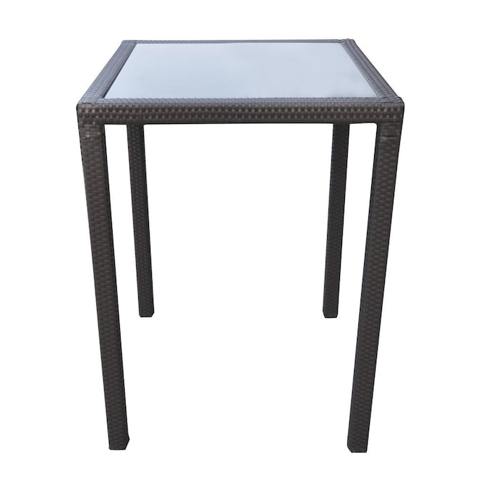 Armen Living Tropez Square Outdoor Bar, Outdoor Bar Height Glass Top Table