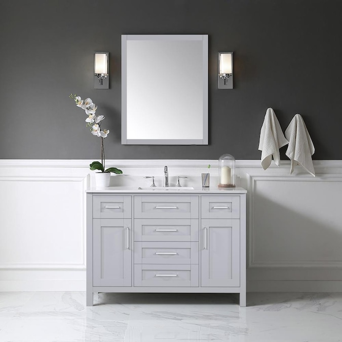 Ove Decors Tahoe 48 In Dove Gray, What Size Mirror For A 48 Vanity