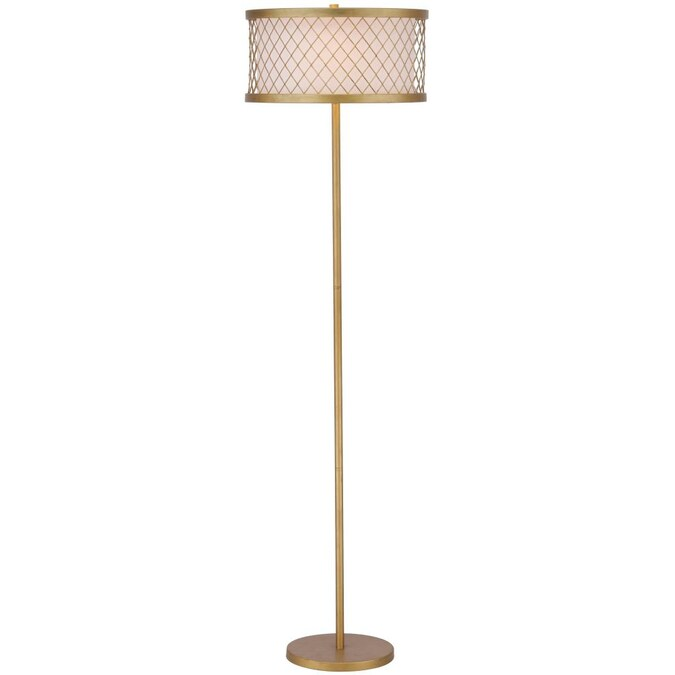 In Antique Gold Shaded Floor Lamp, Skinny Floor Lamp With Shade
