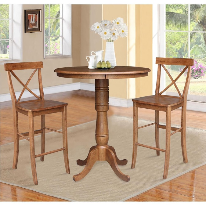 International Concepts 36 In Round Pedestal Bar Height Table With 2 X Back Stools 3 Piece Set The Dining Room Sets Department At Com - What Height Chairs For 36 Inch Table