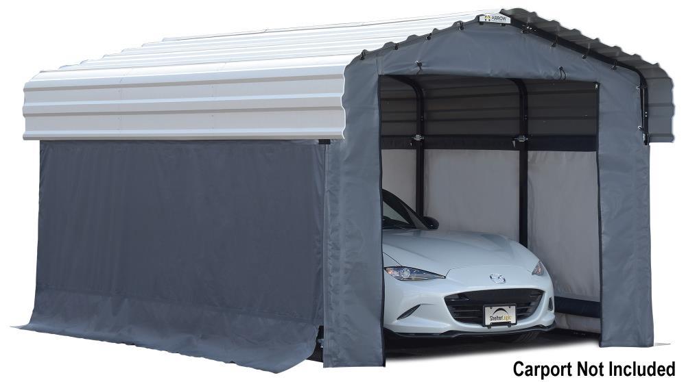Arrow 10 Ft X 15 Ft Grey Metal Carport In The Carports Department At Lowes Com