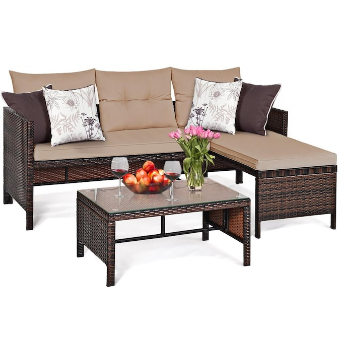 Goplus Costway 3 Piece Metal Frame, For Living 3 Piece Wicker Patio Sectional Set With Cushions
