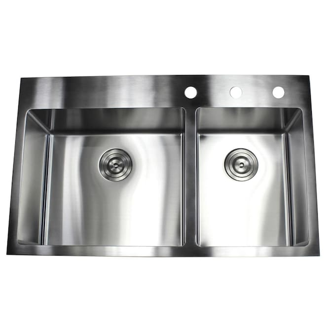 Emoderndecor Ariel Drop In 36 In X 22 In Stainless Steel Double Offset Bowl 3 Hole Kitchen Sink In The Kitchen Sinks Department At Lowes Com