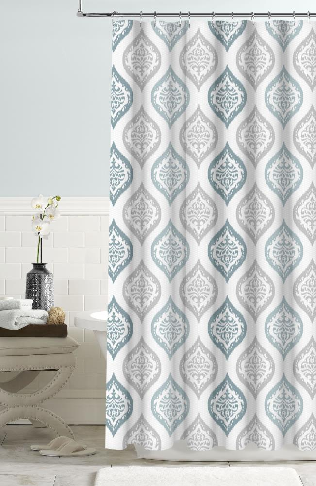 Colordrift 72 In Polyester Blue, Shower Curtains Gray And Blue