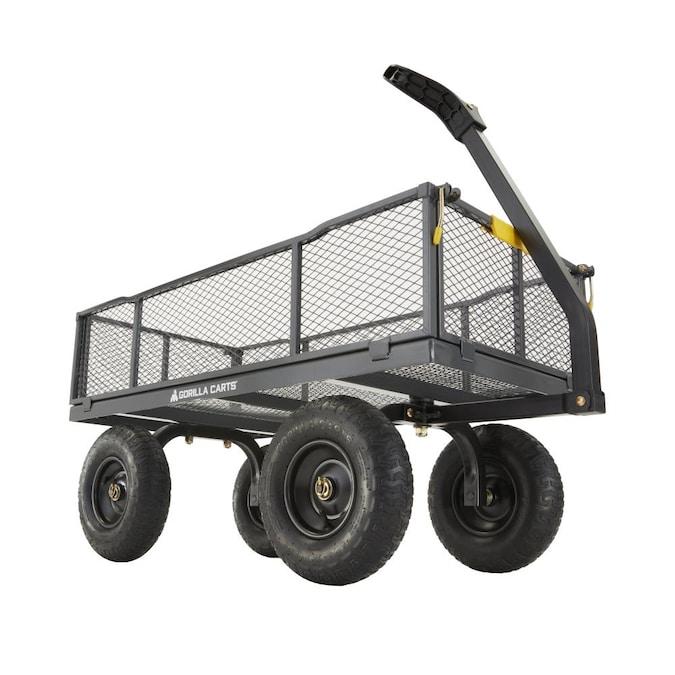 Gorilla Carts 6 Cu Ft Steel Utility, Steel Utility Flat Garden Wagon