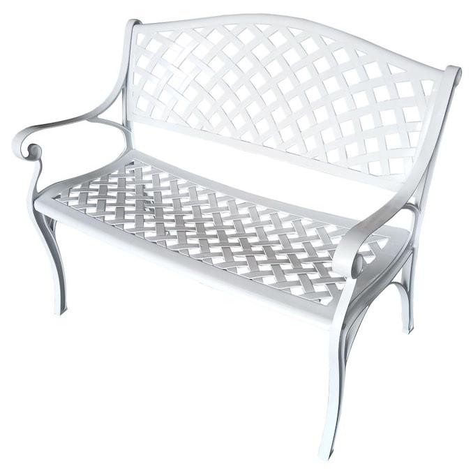 Oakland Living 40 16 In L Outdoor Park, White Cast Aluminum Garden Benches