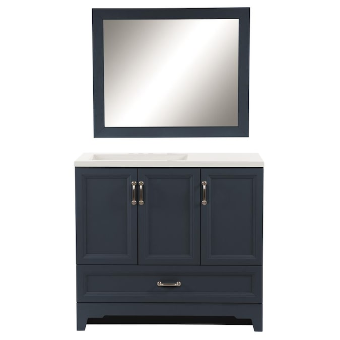 Style Selections 36 In Navy Blue Single Sink Bathroom Vanity With White Cultured Marble Top Mirror Included In The Bathroom Vanities With Tops Department At Lowes Com