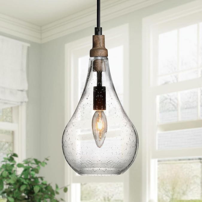 Lnc Integration Black Farmhouse Seeded Glass Teardrop Led Mini Kitchen Island Light In The Pendant Lighting Department At Lowes Com