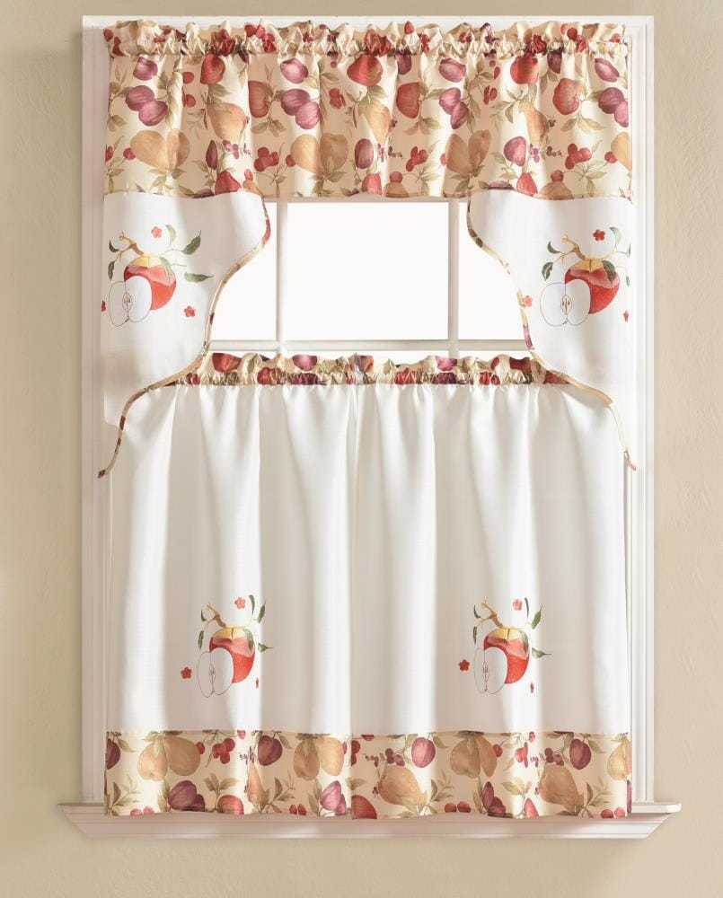 Rt Designers Collection Urban Embroidered Apple Tier And Valance Kitchen Curtain Set In The Valances Department At Lowes Com