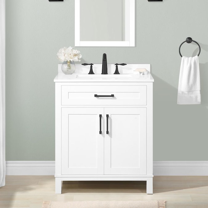 Style Selections Burke 30 In White Undermount Single Sink Bathroom Vanity With White Engineered Stone Top In The Bathroom Vanities With Tops Department At Lowes Com