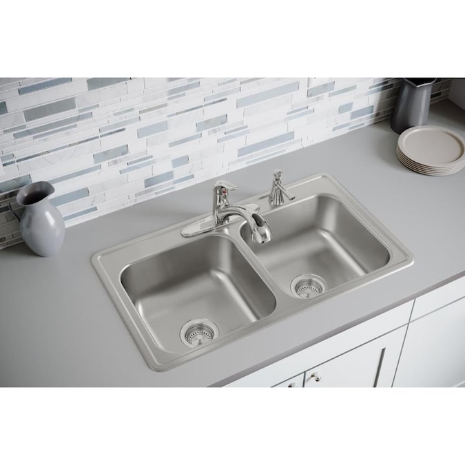 Kohler Undermount 33 In X 22 In Stainless Steel Double Offset Bowl 4 Hole Kitchen Sink In The Kitchen Sinks Department At Lowes Com