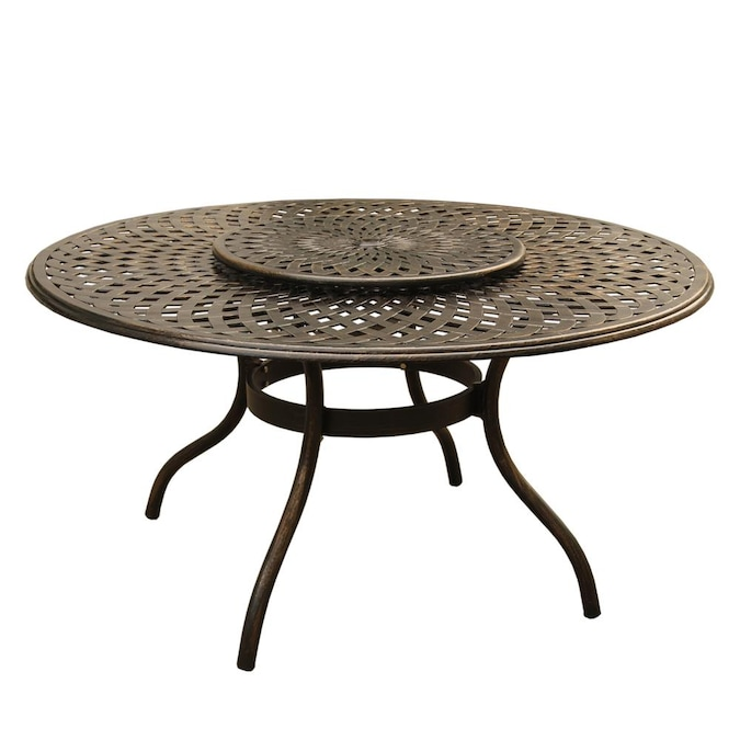Oakland Living Outdoor Dining Tables, Round Outdoor Dining Table With Lazy Susan