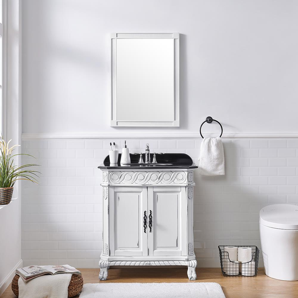 Ove Decors Trent 30 In Antique White Undermount Single Sink Bathroom Vanity With Black Granite Top In The Bathroom Vanities With Tops Department At Lowes Com