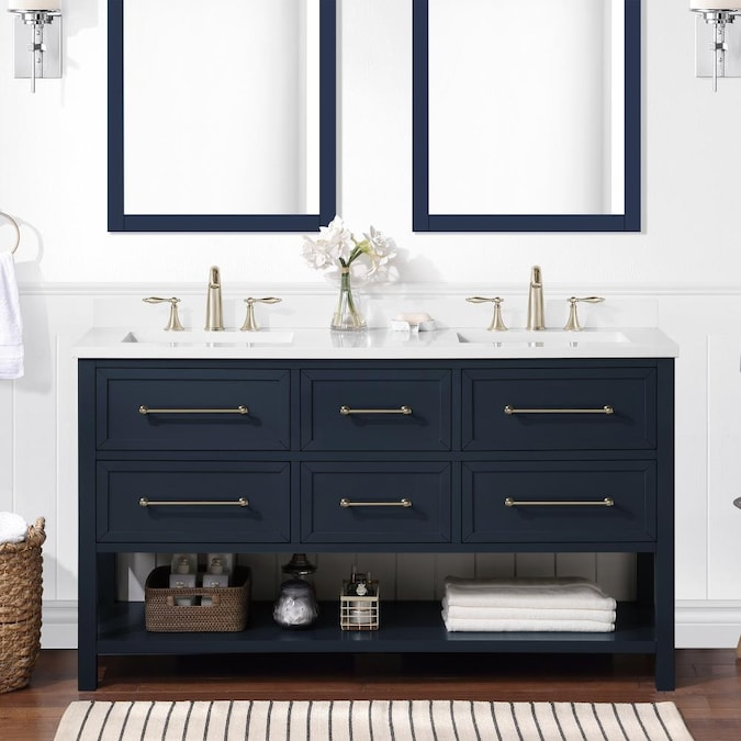 Allen Roth Windsor 60 In Midnight Blue Undermount Double Sink Bathroom Vanity With White Engineered Stone Top In The Bathroom Vanities With Tops Department At Lowes Com
