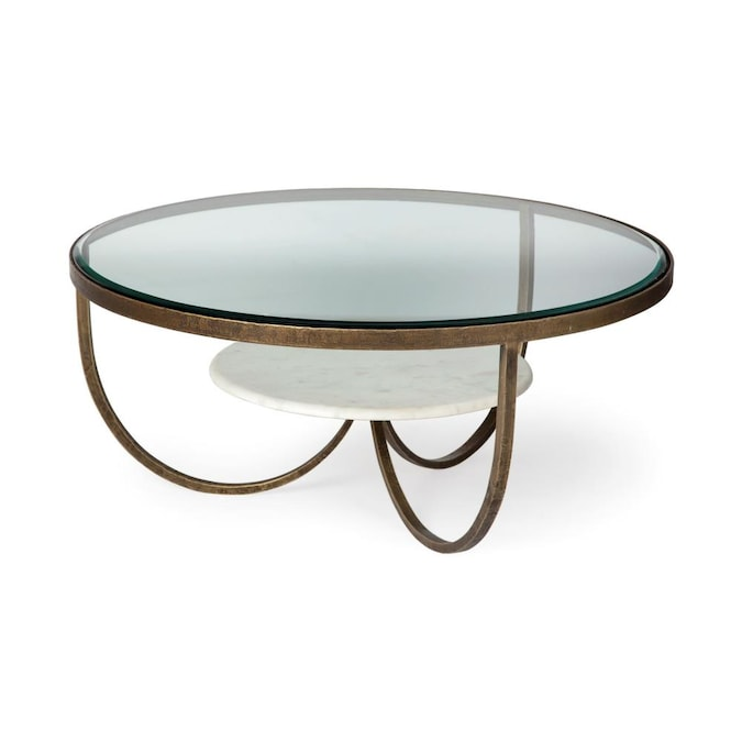 Mercana Reinhardt I 36 In Round Glass, Round Metal Coffee Table With Glass Top