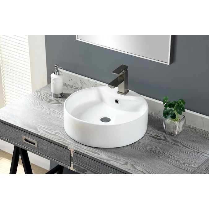 Allen Roth White Vessel Round Bathroom Sink With Overflow Drain 18 11 In X 18 11 In In The Bathroom Sinks Department At Lowes Com