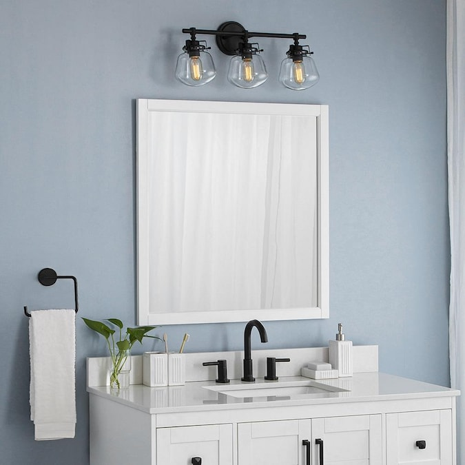 Allen Roth Rigsby 32 In White Square Bathroom Mirror In The Bathroom Mirrors Department At Lowes Com