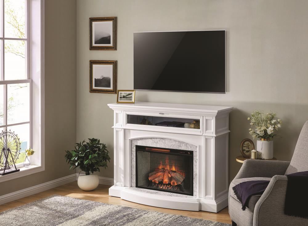 Scott Living 52 5 In W White Infrared, Quartz Electric Fireplace
