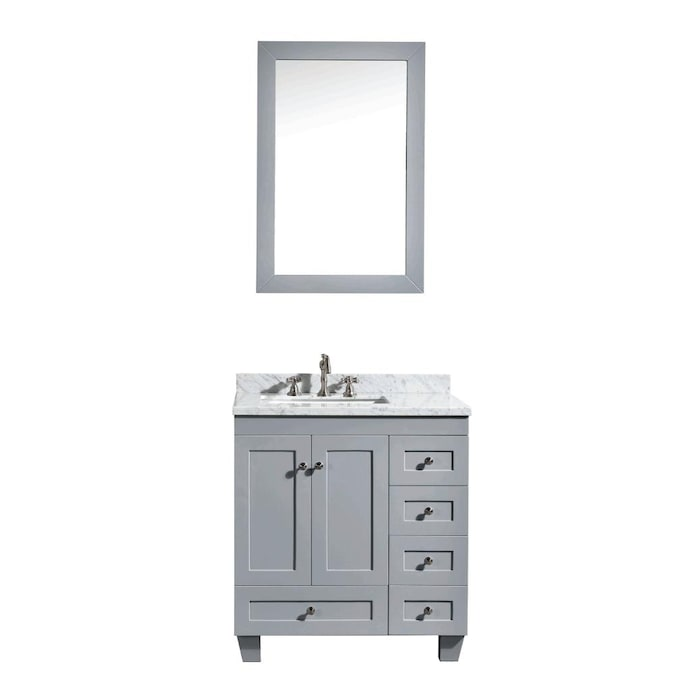 Eviva Acclaim 28 In Gray Undermount Single Sink Bathroom Vanity With White Marble Top In The Bathroom Vanities With Tops Department At Lowes Com