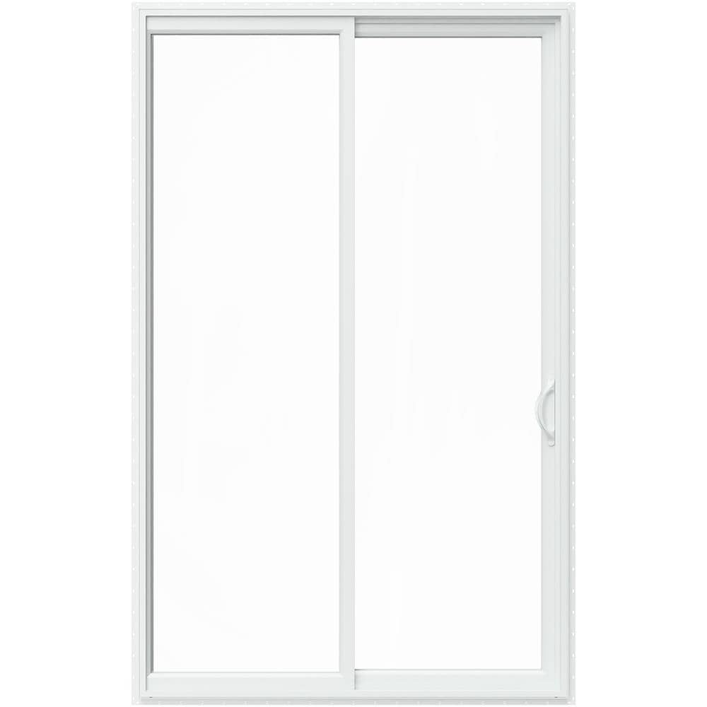 JELD-WEN 96-in x 80-in Double Strength Clear Glass White Vinyl Right-Hand Sliding Prehung Double Door Sliding Patio Door Screen Included -  LOWOL156200111