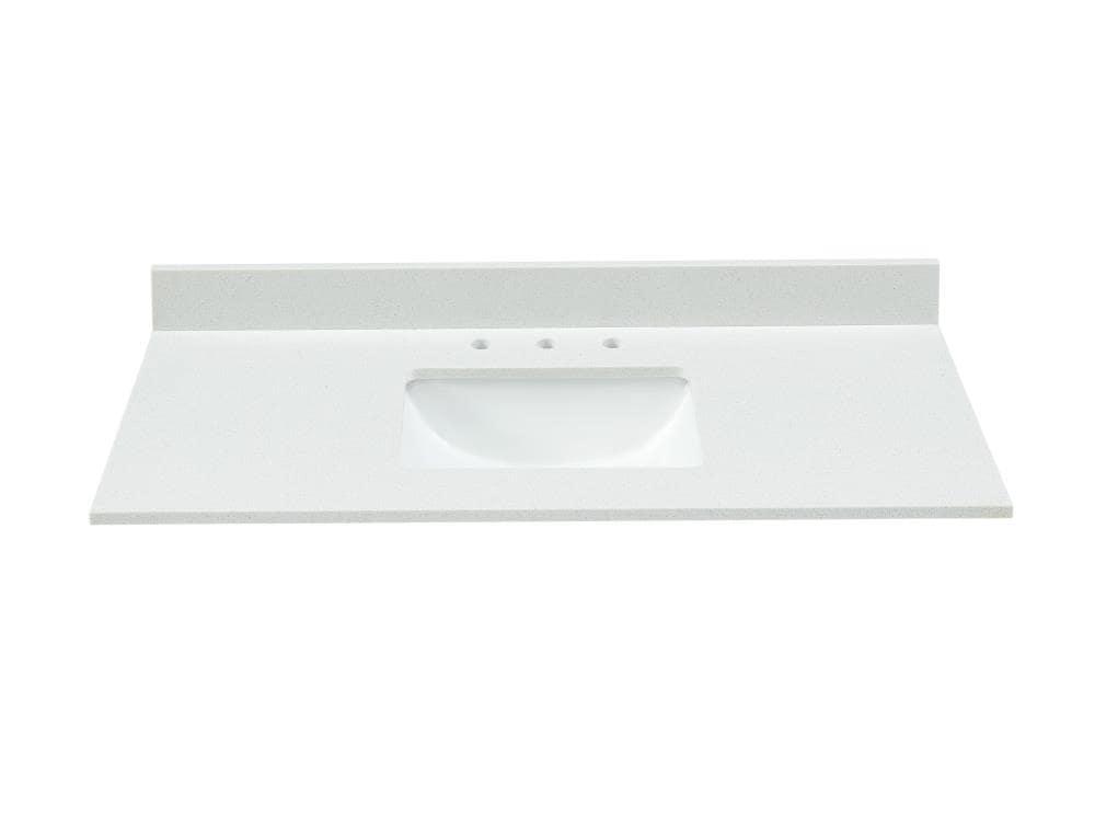 Bestview Meridian 43 In White Polished Engineered Marble Single Sink Bathroom Vanity Top In The Bathroom Vanity Tops Department At Lowes Com